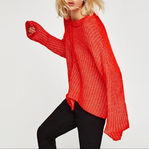 Zara knit oversized orange alpaca sweater size S